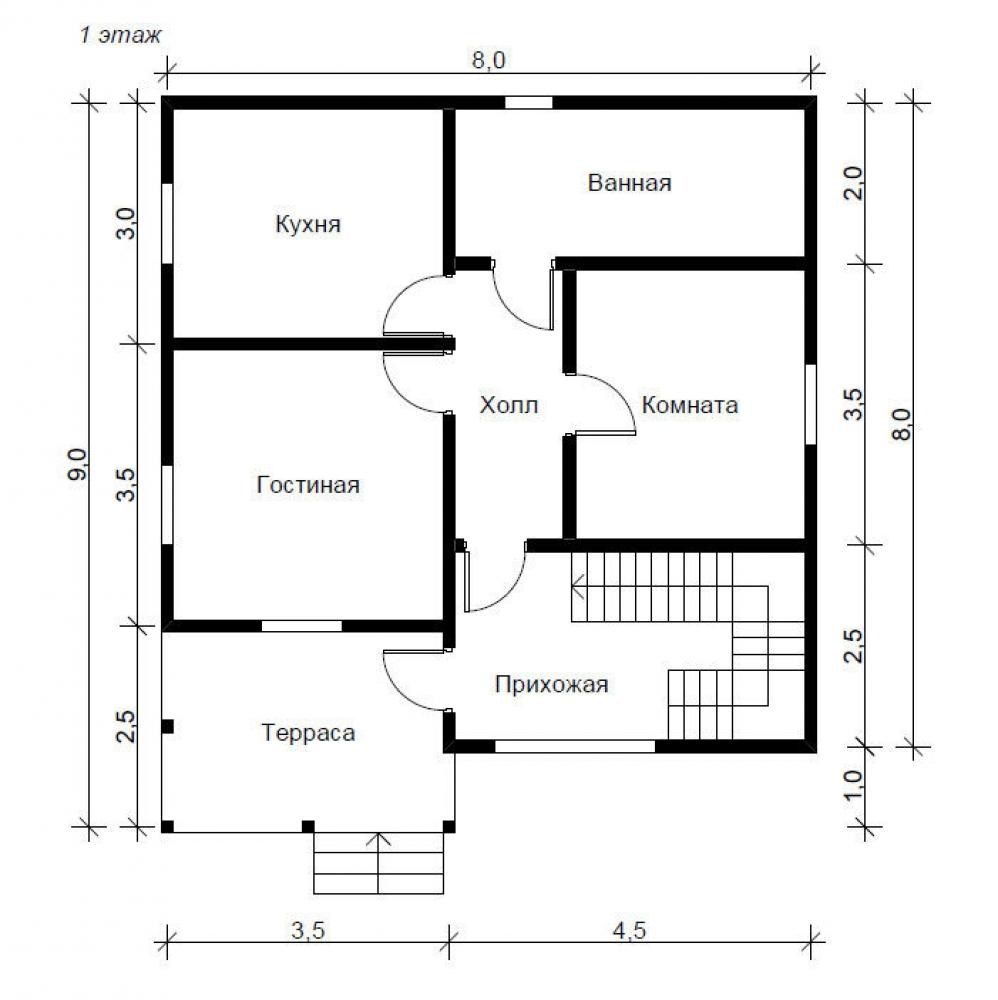 1 этаж дома 8х9